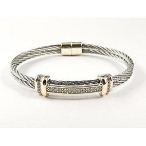 Jewelry - Modern Double Row Wire Band Center CZ Bar Bracelet